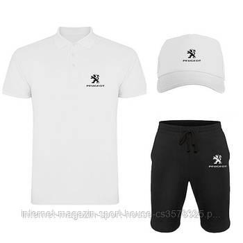Летний набор кепка шорты и тенниска Пежо (Peugeot) мужской, реплика