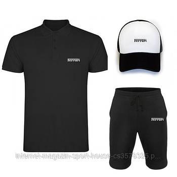 Чоловічий костюм трійка кепка поло і шорти Феррарі (Ferrari), літній чоловічий костюм, копія
