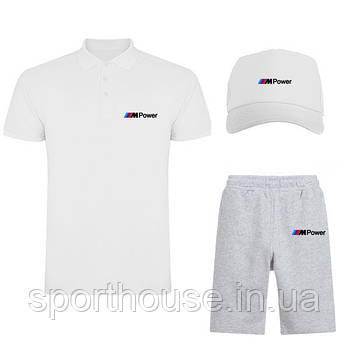 Чоловічий костюм трійка кепка поло і шорти БМВ (BMW), літній чоловічий костюм, копія