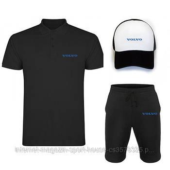 Чоловічий костюм трійка кепка поло і шорти Вольво (Volvo), літній чоловічий костюм, копія