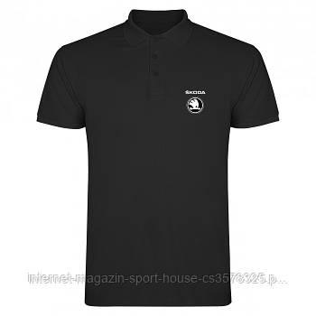Мужская хлопковая тенниска Шкода (Skoda) с брендовым логотипом, реплика