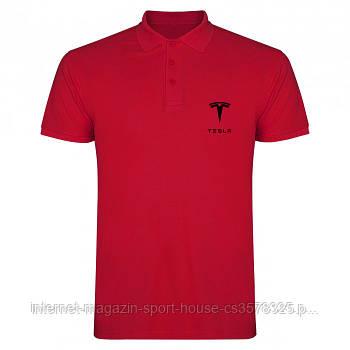 Мужская хлопковая тенниска Тесла (Tesla) с брендовым логотипом, реплика