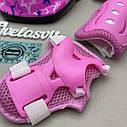 Фирменный комплект защиты, шлем Maraton+ наколенники, налокотники, перчатки для девочки розовая защита, фото 7
