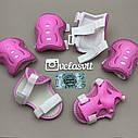 Фирменный комплект защиты, шлем Maraton+ наколенники, налокотники, перчатки для девочки розовая защита, фото 10