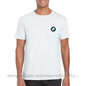 Мужская хлопковая футболка БМВ (BMW) с брендовым логотипом, реплика белая