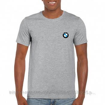 Мужская хлопковая футболка БМВ (BMW) с брендовым логотипом, реплика светло-серая