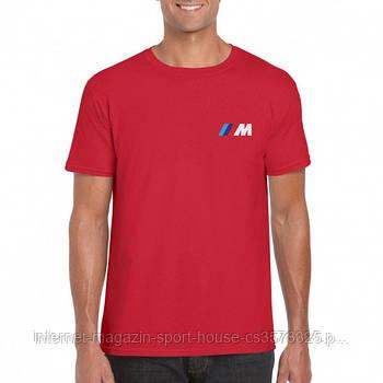 Мужская хлопковая футболка БМВ (BMW) с брендовым логотипом, реплика красная