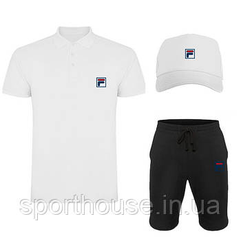 Летний набор кепка шорты и тенниска Фила (Fila) мужской, реплика