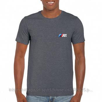 Мужская хлопковая футболка БМВ (BMW) с брендовым логотипом, реплика серая
