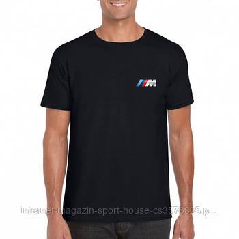 Мужская хлопковая футболка БМВ (BMW) с брендовым логотипом, реплика черная