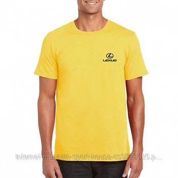 Мужская хлопковая футболка Лексус (Lexus) с брендовым логотипом, реплика желтая
