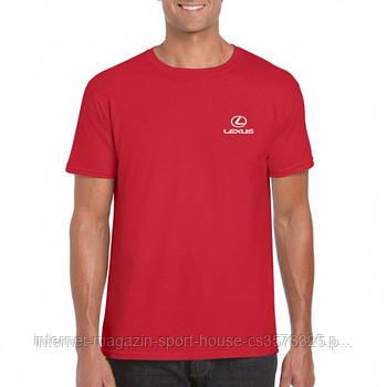 Мужская хлопковая футболка Лексус (Lexus) с брендовым логотипом, реплика красная
