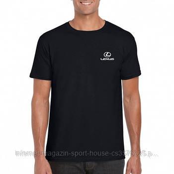 Мужская хлопковая футболка Лексус (Lexus) с брендовым логотипом, реплика черная