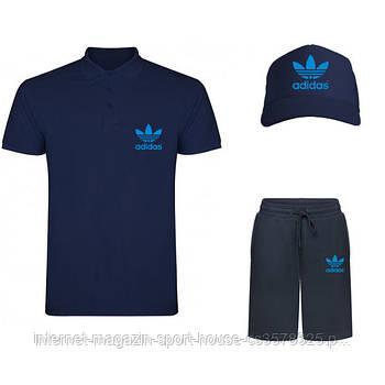 Летний набор кепка шорты и тенниска Адидас (Adidas) мужской, реплика