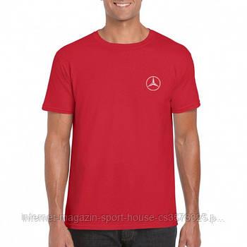 Мужская хлопковая футболка Мерседес (Mercedes) с брендовым логотипом, реплика красная
