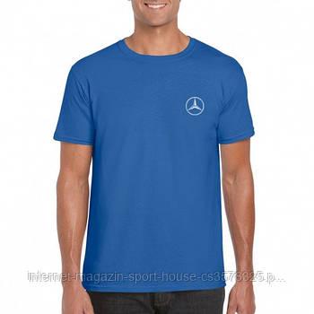 Мужская хлопковая футболка Мерседес (Mercedes) с брендовым логотипом, реплика синяя
