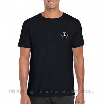 Мужская хлопковая футболка Мерседес (Mercedes) с брендовым логотипом, реплика черная