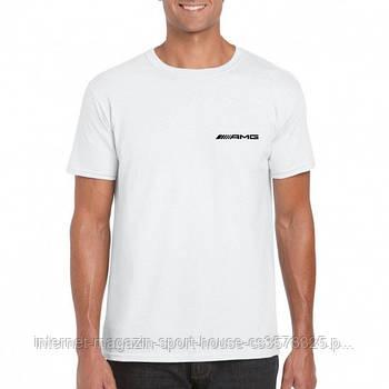 Мужская хлопковая футболка Мерседес (Mercedes) с брендовым логотипом, реплика белая