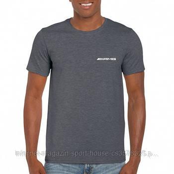 Мужская хлопковая футболка Мерседес (Mercedes) с брендовым логотипом, реплика серая