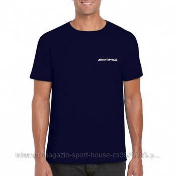 Мужская хлопковая футболка Мерседес (Mercedes) с брендовым логотипом, реплика темно-синяя