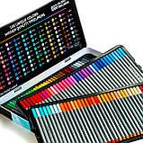 Набор разноцветных линеров в металлическом кейсе 108 цветов 0.4 мм + Альбом для скетчинга А4 на 50 листов, фото 7