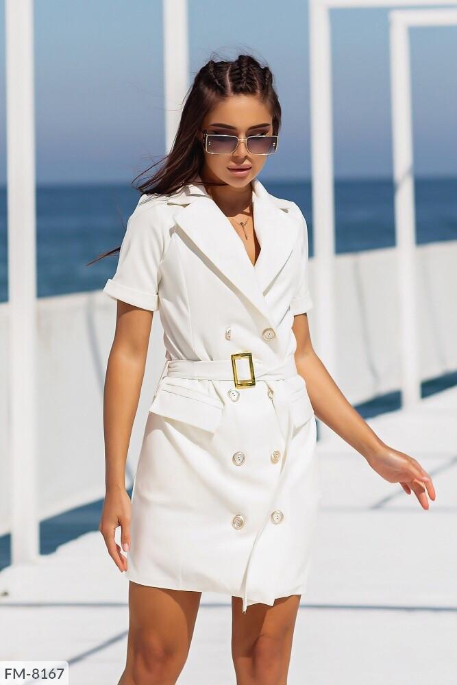 Приталену сукню піджак жіночий короткий міні на гудзиках з поясом короткий рукав р-ри 42-48 арт. 503