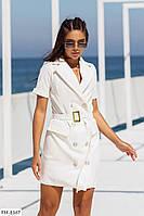 Приталену сукню піджак жіночий короткий міні на гудзиках з поясом короткий рукав р-ри 42-48 арт. 503, фото 1