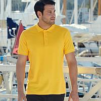 Желтая мужская рубашка поло Premium