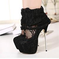 Туфли кружева чулок высокий каблук 16 см