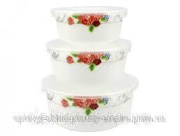 Набор салатников с крышкой 3 шт Роза Lumines HDW-3В-61100