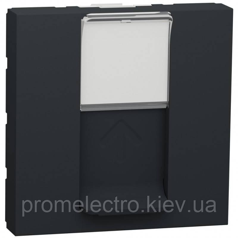 Розетка Schneider Unica New комп'ютерна 2-мод RJ45 кат.6e UTP антрацит (NU341554)
