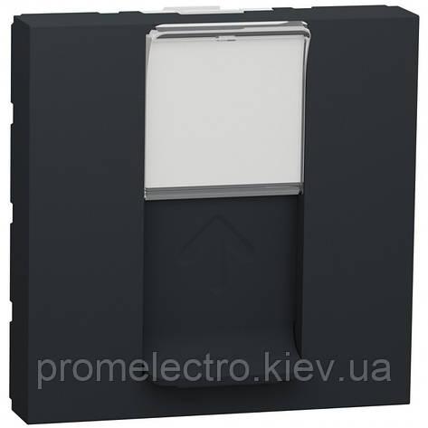 Розетка Schneider Unica New комп'ютерна 2-мод RJ45 кат.6e UTP антрацит (NU341554), фото 2