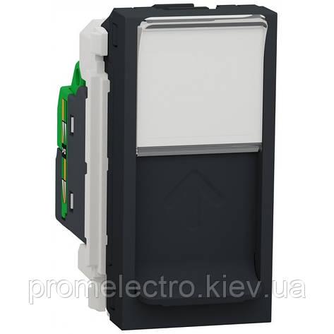 Розетка Schneider Unica New комп'ютерна 1-мод RJ45 кат.5e UTP антрацит (NU341054), фото 2