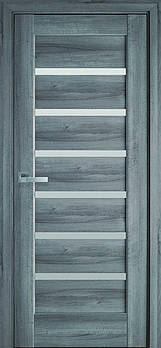 "Дверне полотно ПВХ Делюкс ""Ліннея"" 90 бук попелястий + скло (123725)"
