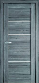 Дверне полотно ПВХ Делюкс Міра 60 бук попелястий + скло (123689)