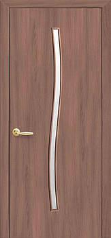 """Дверне полотно Екошпон """"Гармонія"""" 90 вільха 3D +скло (86252)"""