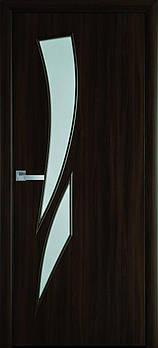 "Дверне полотно Екошпон ""Камея"" 90 горіх 3D +скло (76479)"