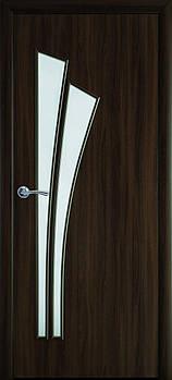 """Дверне полотно Екошпон """"Лілія"""" 80 горіх 3D +скло (76482)"""