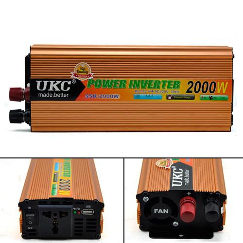 Перетворювач напруги DC/AC авто інвертор 2000Вт 12-220В SSK-2000W