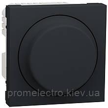 Діммер Schneider Unica New для Led ламп поворотно-натискний 5-200Вт антрацит (NU351454)
