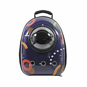 Рюкзак-переноска для кошек Taotaopets Window Dark Blue Circle контейнер домашних животных