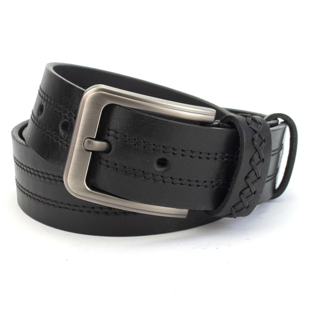 Ремінь шкіряний чоловічий під джинси чорний зі строчками PS-4057 (130 см)