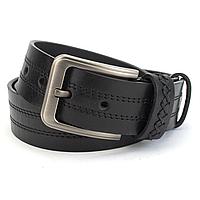 Ремінь шкіряний чоловічий під джинси чорний зі строчками PS-4057 (130 см), фото 1