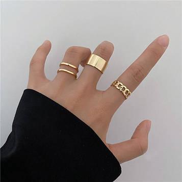 Жіночі золотисті кільця набір 3 штуки код 2099