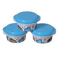 Контейнер для їжі 11*5см 3шт блакитний