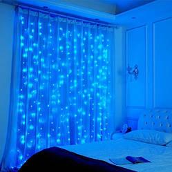 Гирлянда Mine светодиодная Водопад 280 LED, прозрачный шнур 3х2 м Синий 125417 ES, КОД: 2449601