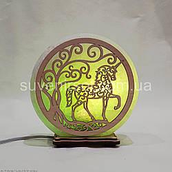 Соляной светильник круглый Единорог