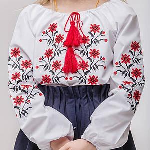 Блуза для дівчинки Незабудка з червоною вишивкою