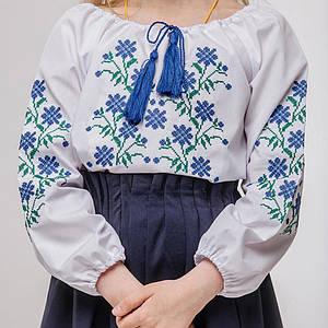 Блуза для дівчинки Незабудка з синьою вишивкою