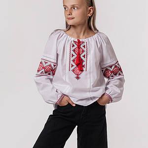 Блуза для дівчинки Квітка з червоною вишивкою